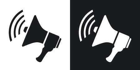 Vector loudspeaker icon. Two-tone version on black and white background Illustration