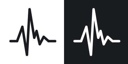 pulse: Vector pulse heart rate icon. Two-tone version on black and white background Illustration
