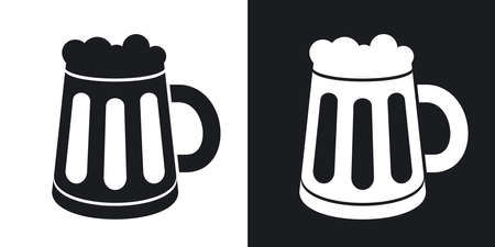 drinks on bar: Vector mug of beer icon. Two-tone version on black and white background