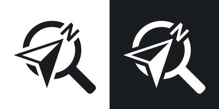 lookup: Vector compass concept icon. Two-tone version on black and white background Illustration