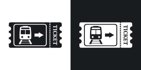 Billet de train icône, vecteur boursier. Version bicolore sur fond noir et blanc