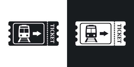 train ticket: Train ticket icon, stock vector. Two-tone version on black and white background Illustration