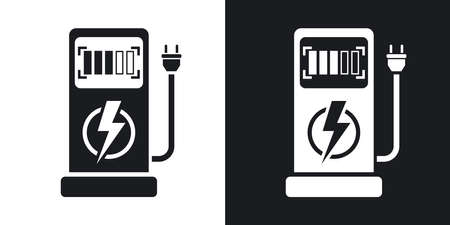 zero emission: Vector electric car charging station icon. Two-tone version on black and white background