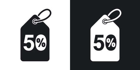 discount tag: Price tag with 50% discount, vector. Two-tone version on black and white background
