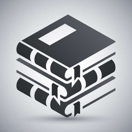 classbook: Vector Books icon. Stack of Books simple icon on a light gray background