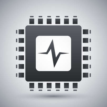 micro chip: Vector CPU or Processor test icon. CPU or Processor test simple icon on a light gray background