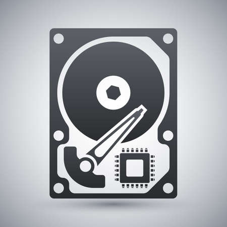 sata: Vector HDD icon. Hard Disk Drive simple icon on a light gray background