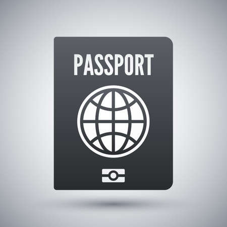 credential: Vector Passport icon. Passport simple icon on a light gray background Illustration