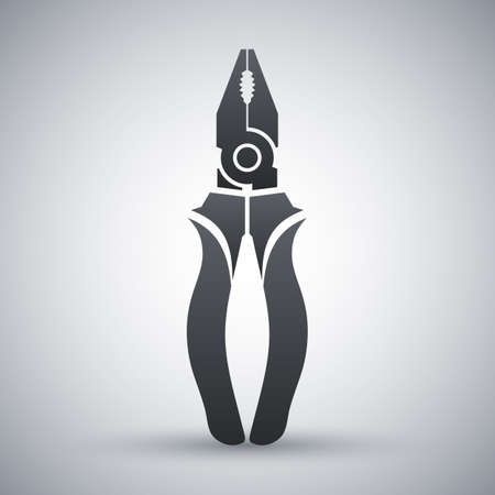 small tools: Vector Pliers icon. Pliers simple icon on a light gray background Illustration