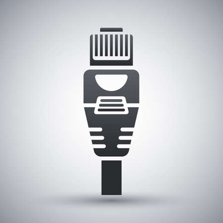enchufe: Internet vector icono de conector con cable. Conector de Internet con cable simple icono sobre un fondo gris claro