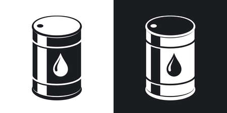 naphtha: oil barrel icon. Two-tone version on black and white background