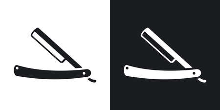straight razor: straight razor icon. Two-tone version on black and white background