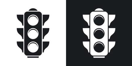 black light: traffic light icon. Two-tone version on black and white background Illustration
