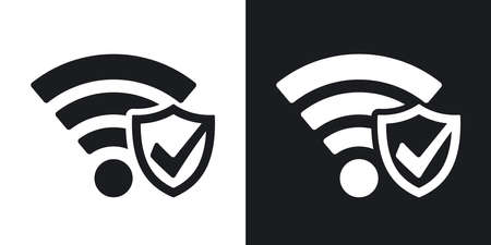 secure icon: Security Icon. Two-tone version on black and white background