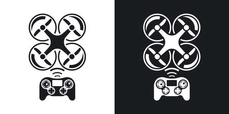 remote control: Drone with remote control icon. Two-tone version on black and white background