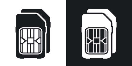 mobile cellular: Dual SIM cards icon. Two-tone version on black and white background