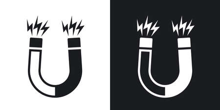 polarity: Magnet icon. Two-tone version on black and white background Illustration