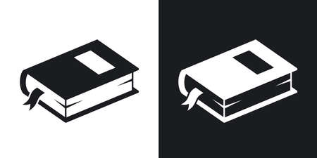 closed book: closed book icon. Two-tone version on black and white background Illustration