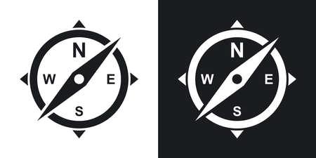 コンパスのアイコン。黒と白の背景にツートン カラー バージョン