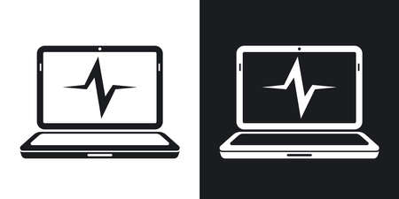 medical testing: laptop diagnostics icon. Two-tone version on black and white background Illustration