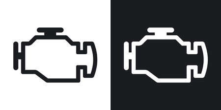 car dashboard: engine icon. Two-tone version on black and white background