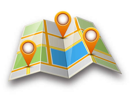 mapping: Abstract street map icon with map pointer and shadow isolated on white background. Mapping points on city map, map pointers, mark place signs