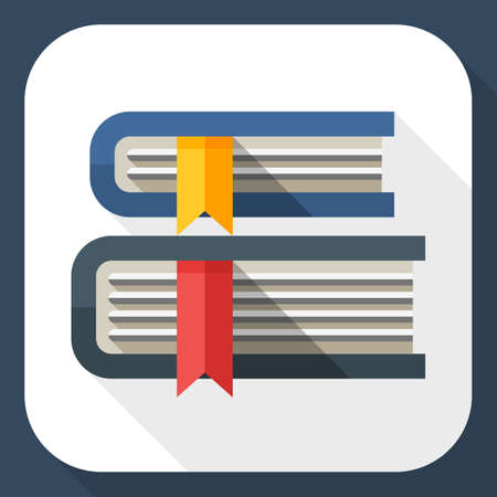 book reader: Books icon. Books simple icon in flat style with long shadow Illustration