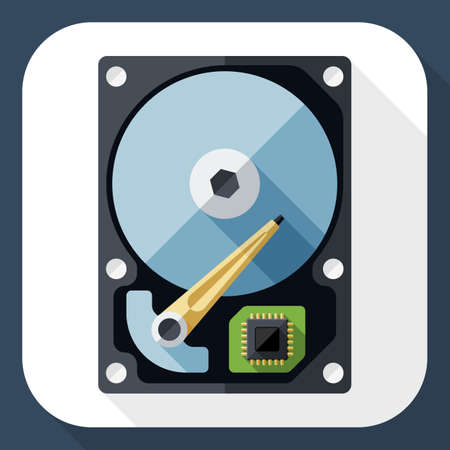 hdd: HDD icon. Hard Disk Drive simple icon in flat style with long shadow
