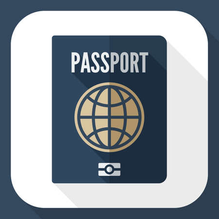 credential: Passport icon. Passport simple icon in flat style with long shadow