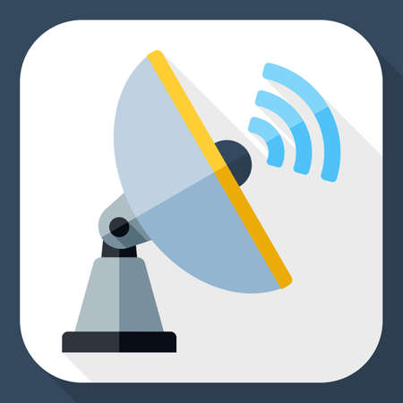 telecomm: Satellite Antenna icon. Satellite Antenna simple icon in flat style with long shadow Illustration