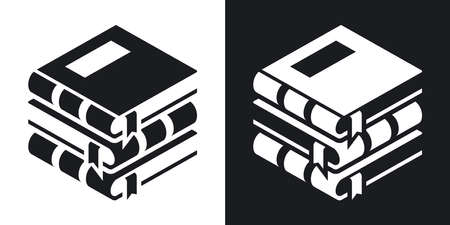 stacked books: Vector Books icon. Two-tone version of Stack of Books simple icon on black and white background