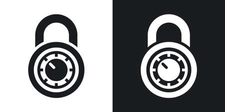 black and white lock: Vector combination lock icon. Two-tone version on black and white background