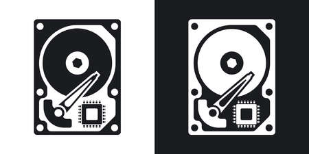 hard disk drive: Vector HDD icon. Two-tone version of Hard Disk Drive simple icon on black and white background