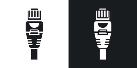 rj45: Vector Connector with Cable icon. Two-tone version of Connector with Cable simple icon on black and white background Illustration