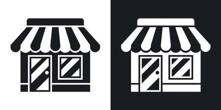 shopfront: Vector Store or Shop icon. Two-tone version of Shop or Store simple icon on black and white background