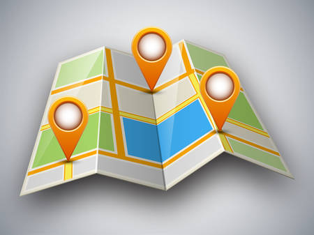 city light: Abstract street map icon with map pointer and shadow isolated on light grey background. Mapping points on city map, map pointers, mark place signs