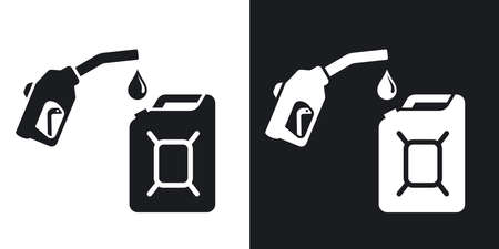 gas gauge: Gun for fuel pump and canister of fuel, vector icon. Two-tone version on black and white background