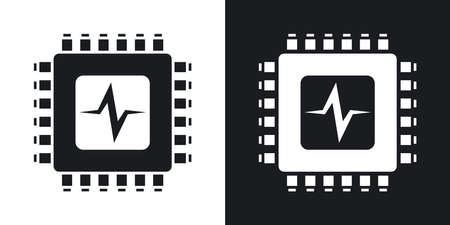 processor: Vector CPU or Processor test icon. Two-tone version of CPU or Processor test simple icon on black and white background Illustration
