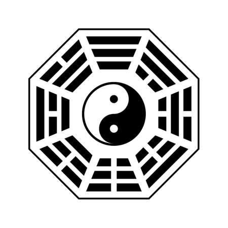 """벡터 음과 양 심볼입니다. 흰색 배경에 고립 된 현대 음과 양 심볼입니다. 푸 사이 """"이전 천국""""bagua 배열"""