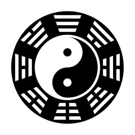 feng shui: Yin and yang symbol. Modern yin-yang symbol isolated on white background. Fu Xi Earlier Heaven bagua arrangement