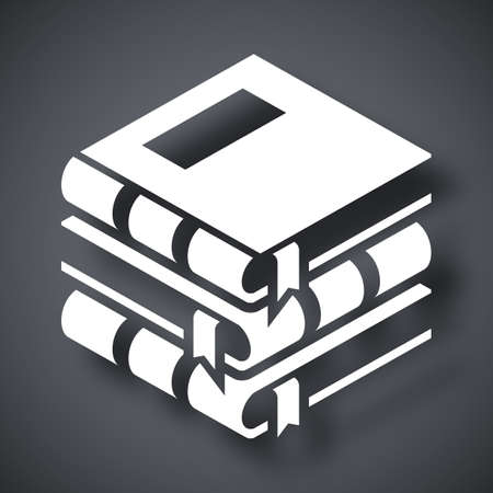 wound care: Vector Books icon. Stack of Books simple icon on a dark gray background Illustration