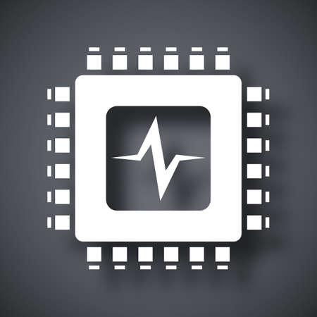 processor: Vector CPU or Processor test icon. CPU or Processor test simple icon on a dark gray background