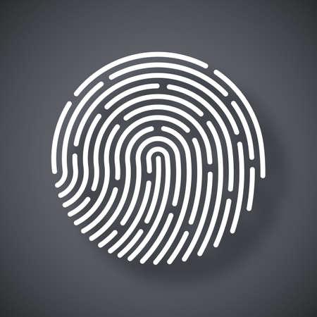 dactylogram: Vector Fingerprint icon. Fingerprint simple icon on a dark gray background Illustration