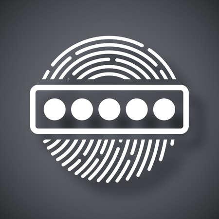 dactylogram: Vector Fingerprint Password icon. Fingerprint Password simple icon on a dark gray background