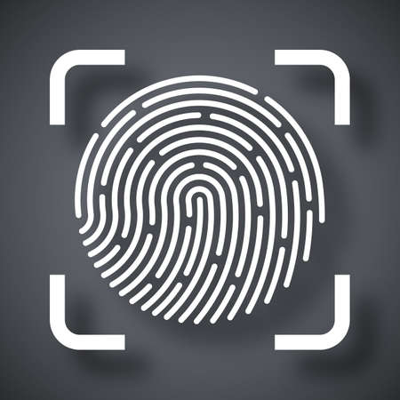 dactylogram: Vector Fingerprint Scanning icon. Fingerprint Scanning simple icon on a dark gray background Illustration