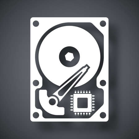 winchester: Vector HDD icon. Hard Disk Drive simple icon on a dark gray background