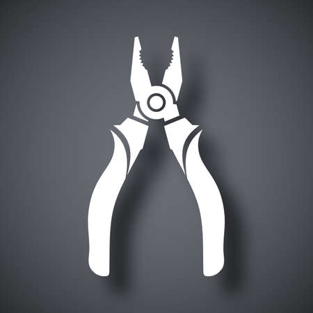 Vector Open Pliers icon. Open Pliers simple icon on a dark gray background