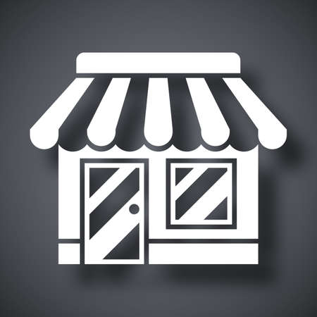 shopping malls: Vector Store or Shop icon. Shop or Store simple icon on a dark gray background