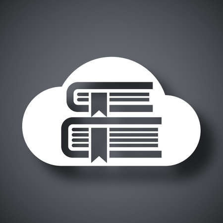 learning: Vector Cloud Library or Online Library icon. Online Library or Cloud Library simple icon on a dark gray background
