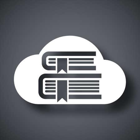 aprendizaje: Vector de la nube Biblioteca o en el icono Biblioteca en línea. Biblioteca en línea o Biblioteca Nube simple icono sobre un fondo gris oscuro